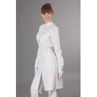 Халат женский антистатический длина до колена, длинный рукав, 2 боковых кармана